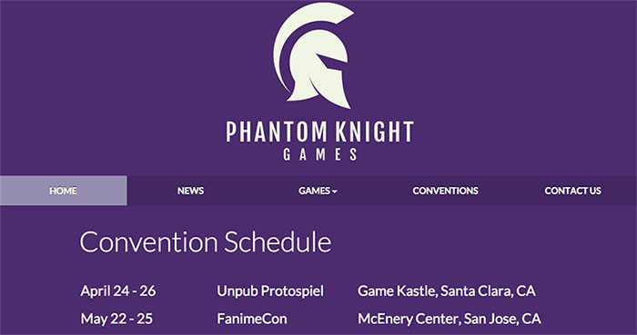 Phantom Knight Games website screenshot